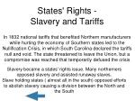 states rights slavery and tariffs
