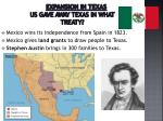 expansion in texas us gave away texas in what treaty
