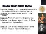 issues begin with texas