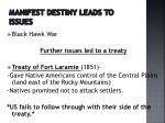 manifest destiny leads to issues