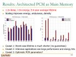 results architected pcm as main memory