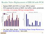 results na ve replacement of dram with pcm