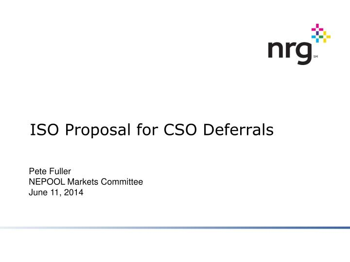 iso proposal for cso deferrals n.