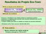 resultados do projeto eco town