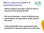 why is it relevant to outdoor experiential learning