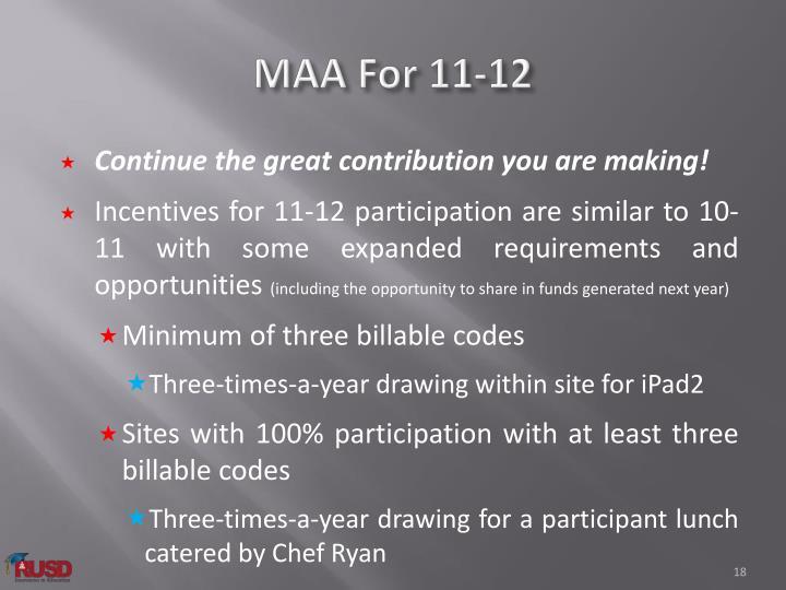 MAA For 11-12
