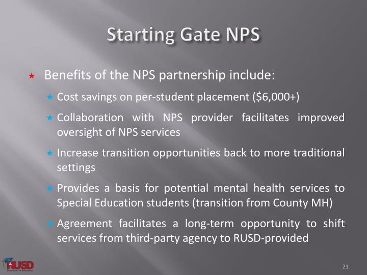Starting Gate NPS