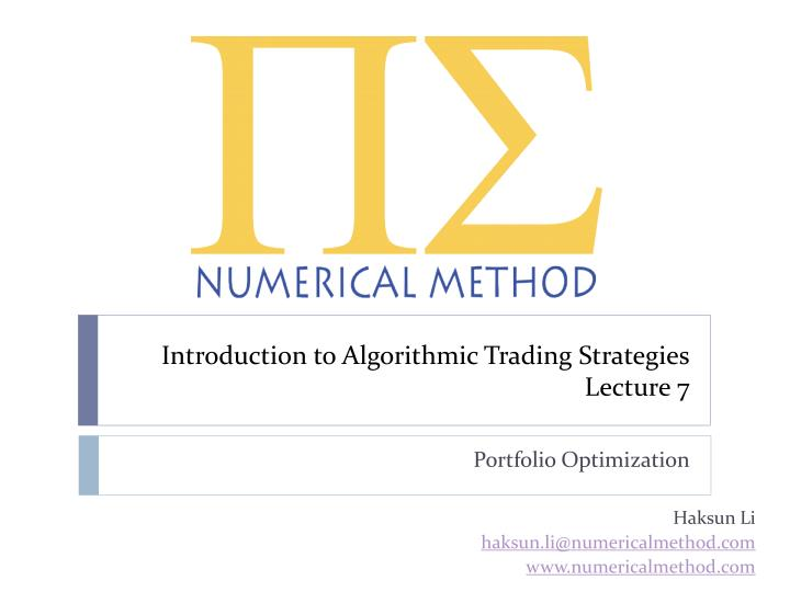 introduction to algorithmic trading strategies lecture 7 n.