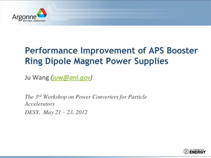performance improvement of aps booster ring dipole magnet power supplies n.