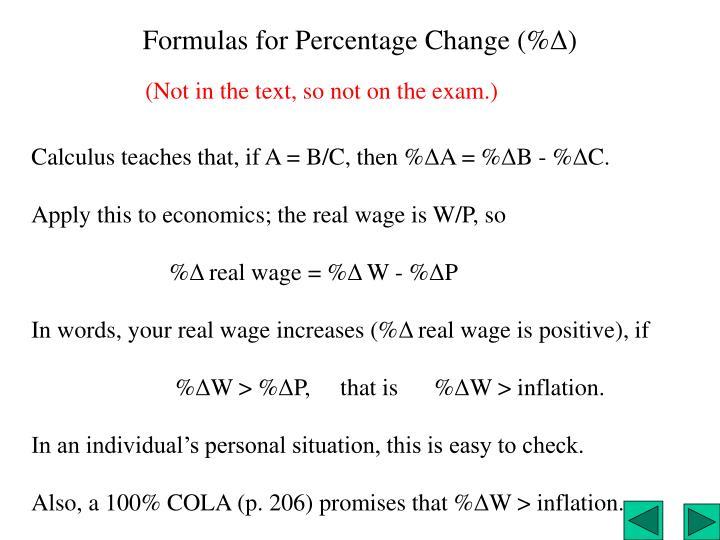 Formulas for Percentage Change (%