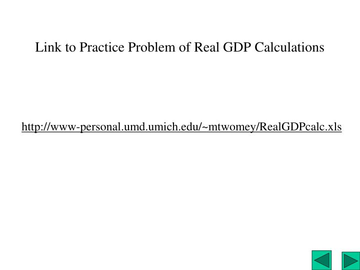 Link to Practice Problem of Real GDP Calculations