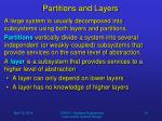 partitions and layers