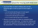 check for missing well child visits
