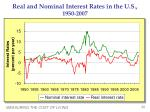 real and nominal interest rates in the u s 1950 2007
