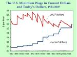 the u s minimum wage in current dollars and today s dollars 1950 2007