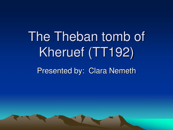 the theban tomb of kheruef tt192 n.