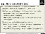 expenditures on health care