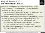 major provisions of the affordable care act