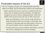 predictable impacts of the act1