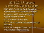 2013 2014 proposed community college budget