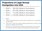 projections of legal annual immigration into usa