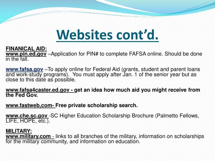 Websites cont'd.