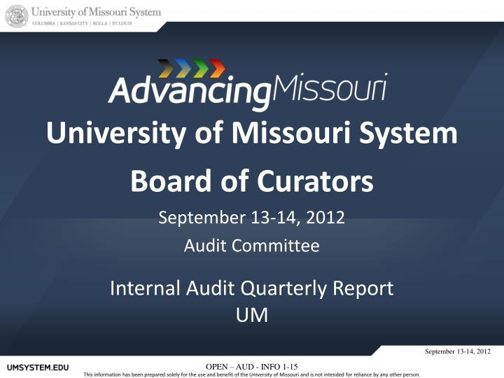university of missouri system board of curators september 13 14 2012 audit committee n.