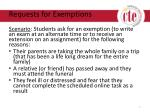 requests for exemptions