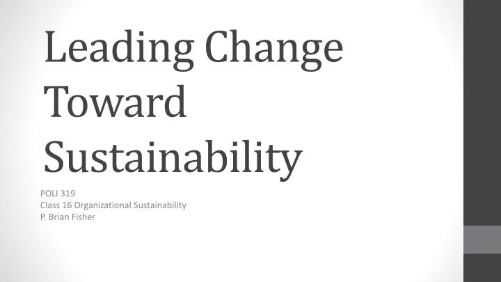 leading change toward sustainability n.