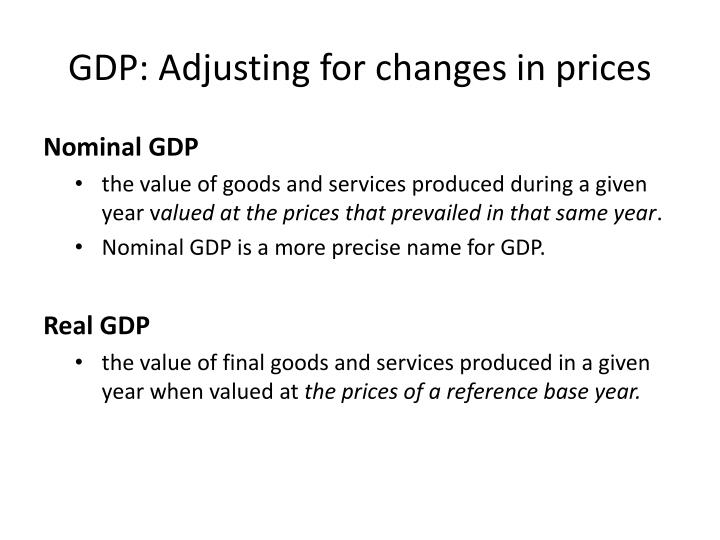 GDP: Adjusting for changes in prices