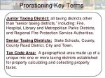 prorationing key terms