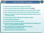 policy faq table of contents