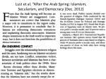 lust et al after the arab spring islamism secularism and democracy dec 2012
