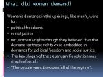 what did women demand