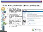 find it all at the new ppg election headquarters