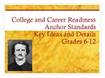 college and career readiness anchor standards key ideas and details grades 6 12