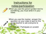 instructions for notes participation