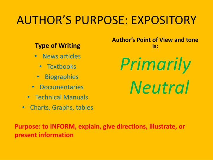 author s purpose expository n.