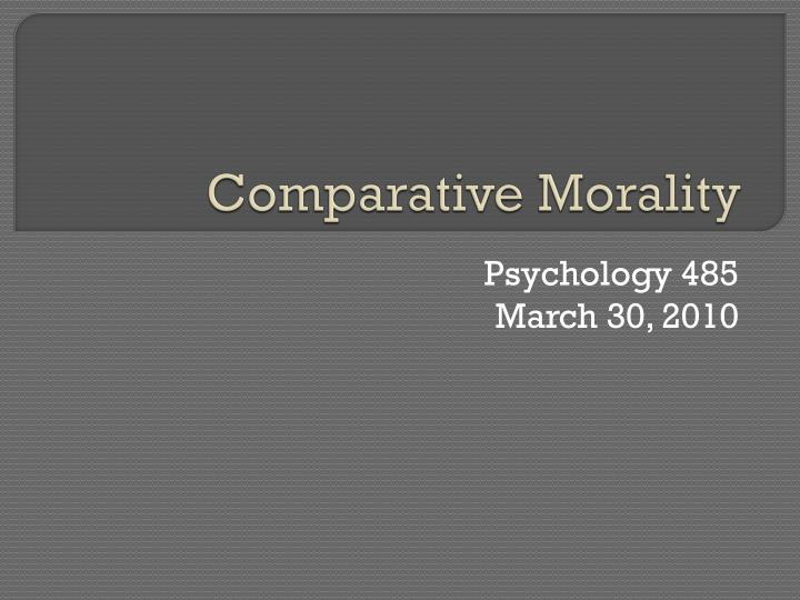 comparative morality n.
