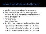 review of modular arithmetic