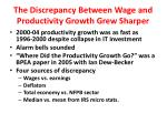 the discrepancy between wage and productivity growth grew sharper