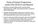 parity of esteem programme leeds ccgs 2014 15 and beyond