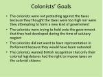 colonists goals