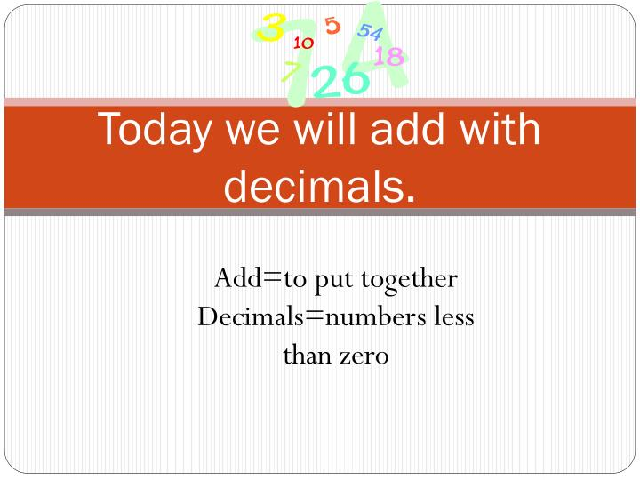 today we will add with decimals n.