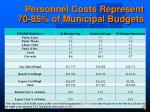 personnel costs represent 70 85 of municipal budgets
