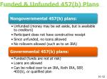 funded unfunded 457 b plans