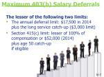 maximum 403 b salary deferrals