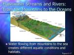 freshwater streams and rivers from the mountains to the oceans