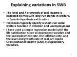 explaining variations in swb