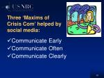 three maxims of crisis com helped by social media